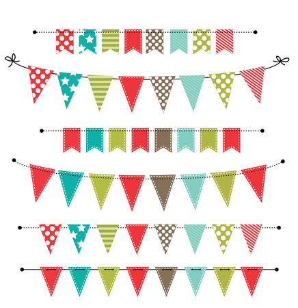 Christmas banner, bunting or flags on transparent background, for scrapbooking, vector format Vettoriali