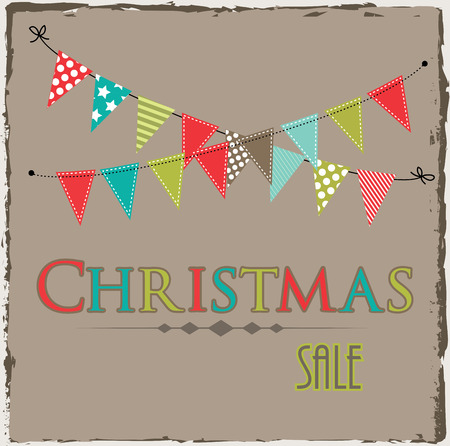 swag: Christmas sale template with bunting or banner on brown grunge background
