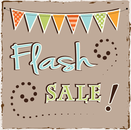 Flash sale template with bunting or banner on brown grunge backgroun Vector