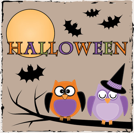 Halloween owls with bats and moon on brown grunge background Vector