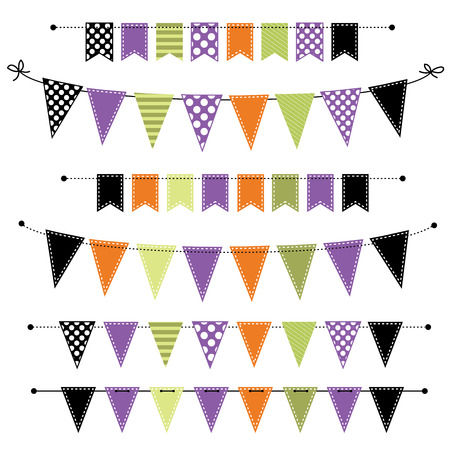 bunting: Halloween banner, bunting or flags on transparent background, for scrapbooking, vector format
