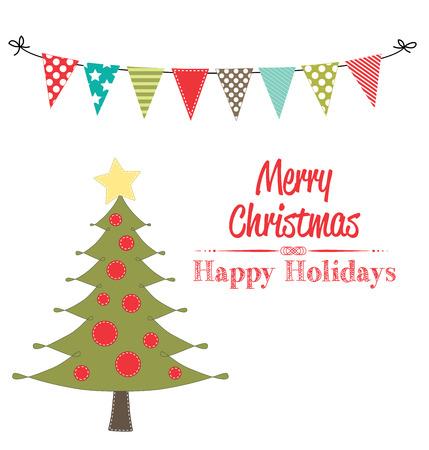 fondo transparente: Navidad del arte de clip del �rbol con la bandera o banderines en el fondo transparente para formato vectorial scrapbooking o tarjetas,