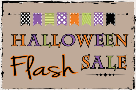 10 month: Halloween flash sale template with bunting or banner on brown grunge background Illustration
