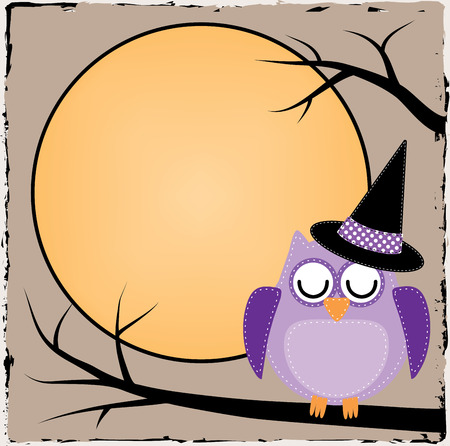 Halloween owl with moon on brown grunge background Vector