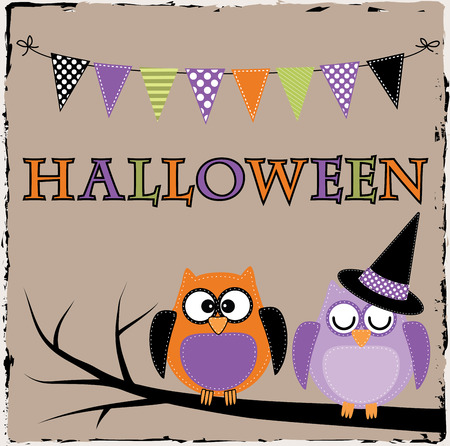 Halloween owls with bunting or banner on brown grunge background