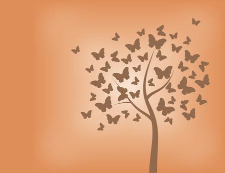 Rbol hecho de mariposas en tonos de naranja Foto de archivo - 32360225