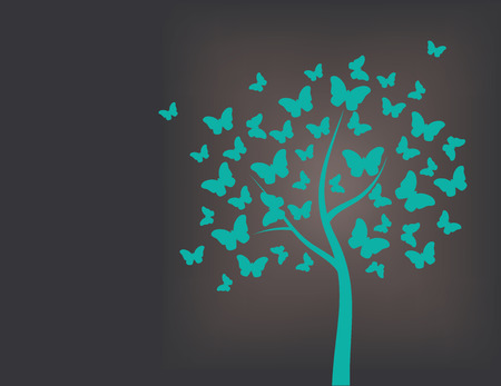Tree made of butterflies, turquoise and black background Vectores