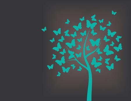 Arbre en papillons, turquoise et fond noir Banque d'images - 32360253