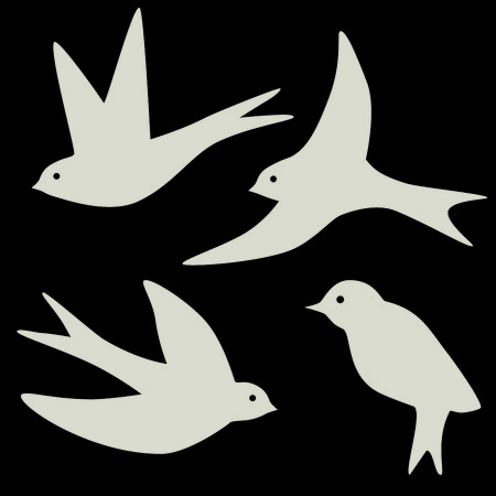 Set of four swallow bird silhouettes, in black and cream