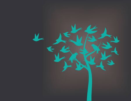 grey pattern: Tree made of swallow birds, turquoise with back or grey background