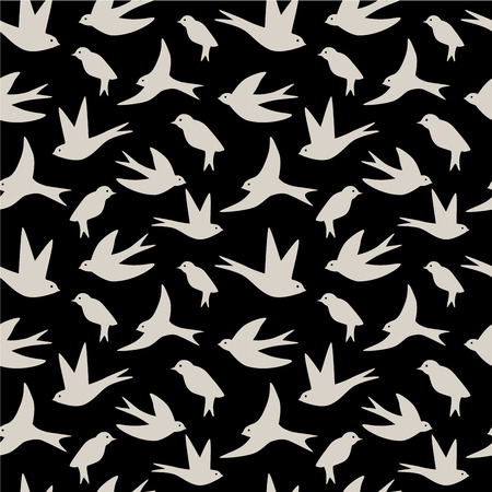 Seamless pattern made of swallow birds on black background
