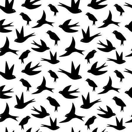 martinet: Seamless fait des oiseaux d'hirondelle sur fond blanc ou translucide Illustration