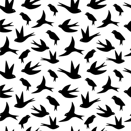 swift: Seamless pattern made of swallow birds on white or translucent background