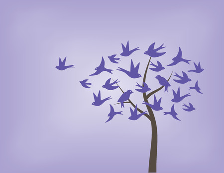 燕鳥の紫色の濃淡で作られたツリー