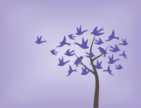Boom gemaakt van zwaluw vogels in de kleuren paars
