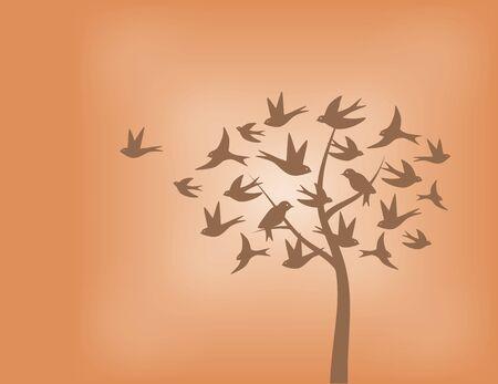 オレンジの色合いでツバメ鳥の木  イラスト・ベクター素材