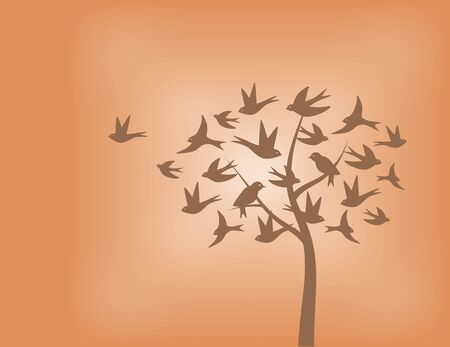 Tree made of swallow birds in shades of orange Illustration