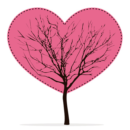 barren: Heart shaped tree with barren branches on transparent white background