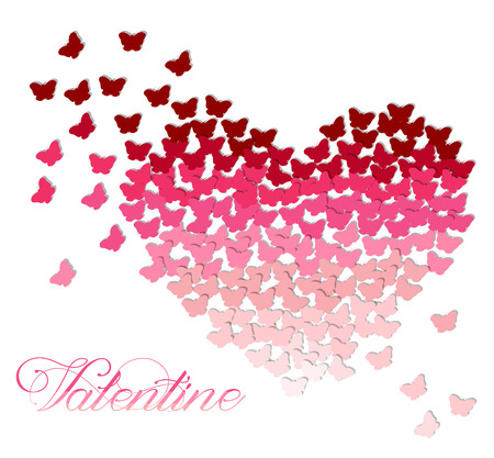 Ombre heart made of butterflies in shades of pink and red on transparent white background