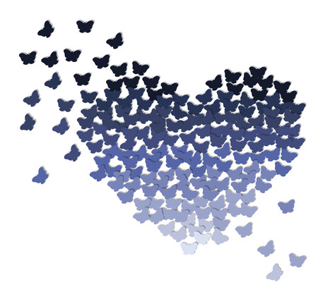 butterfly background: Ombre heart made of butterflies in shades of blue or purple on transparent white background Illustration