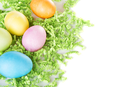 colored backgound: Dyed Easter eggs on a bed of green confetti, with white background