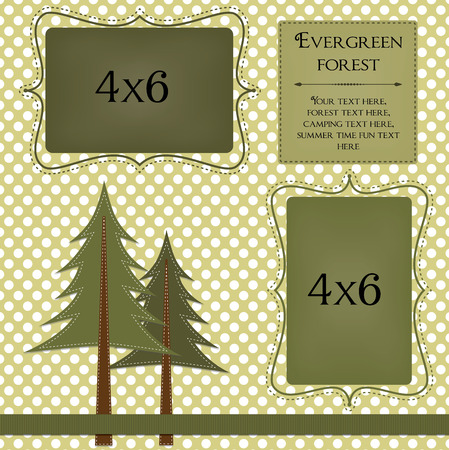 Pine Trees On A Polka Dot Background With Frames For Photos Or
