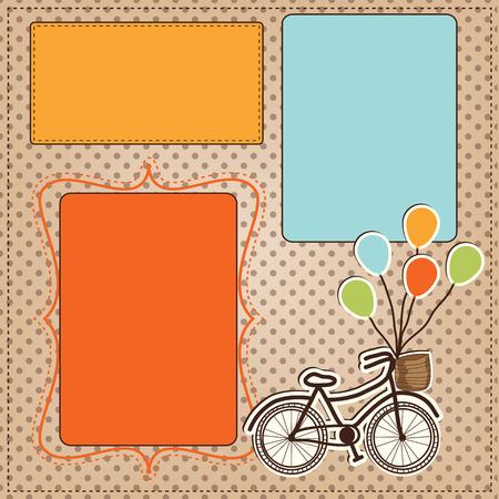 bicicleta retro: bicicleta retro con globos con marcos para fotos o texto