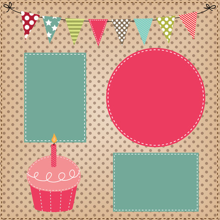 teal background: Cupcake template with bunting or flags and photo frames for birthday party or bakery menus Illustration