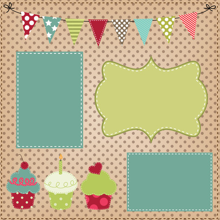 stitched: Cupcake template with bunting or flags and photo frames for birthday party or bakery menus Illustration