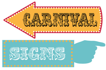 hand pointing: Carnival sign template direction signs with arrow and pointing hand