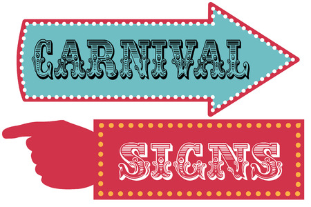red sign: Carnival sign template direction signs with arrow and pointing hand