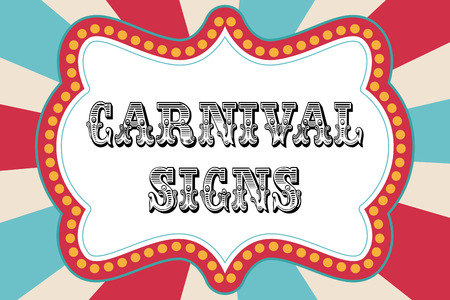 circus background: Carnival sign template with red and blue