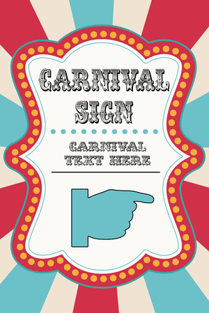 Carnival sign template with pointing hand