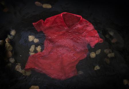 mojada: Camiseta roja flotante o se hunde en agua