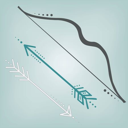Cute retro bow and arrows on a teal background, square format for scrapbooking Vectores