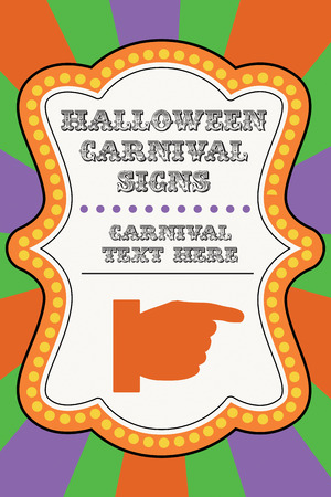 Halloween carnival template with hand pointing and room for text.