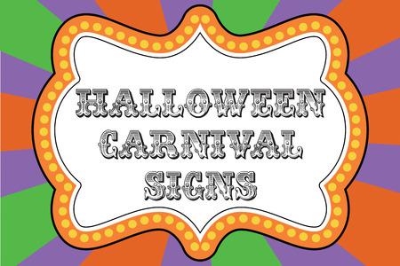Halloween carnival sign template with frame for text