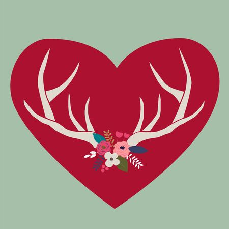 Deer antlers with hearts for Valentines day