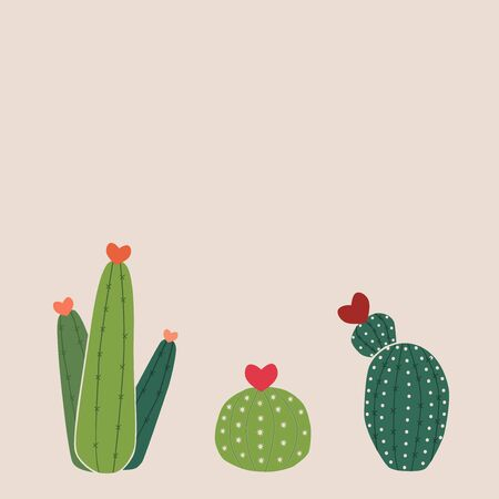 Group of cactus with hearts for valentines day