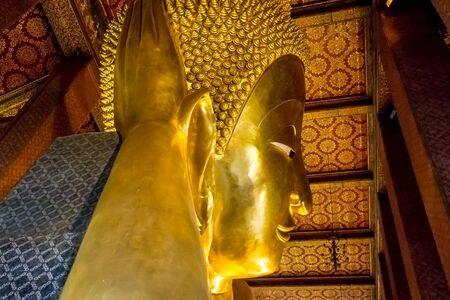 recline: RECLINING BUDDHA AT WAT PO, BANGKOK THAILAND