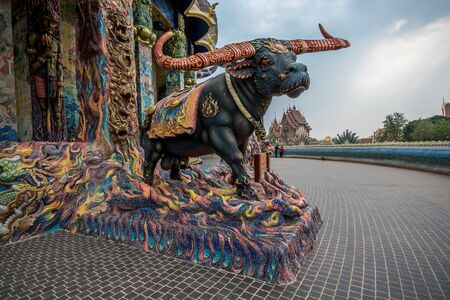 water buffalo: Water Buffalo Statue that related to Buddhism Religion stand in the temple. Stock Photo