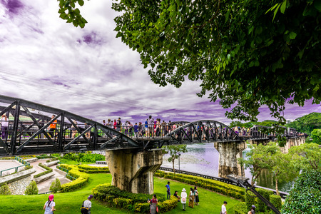 prisoner of war: Tourist at the Bridge of River Kwai. Editorial