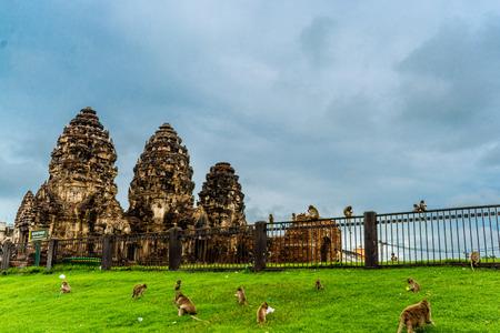 pra: Pra Prang Sam Yod a Historical castle,Lopburi Thailand.