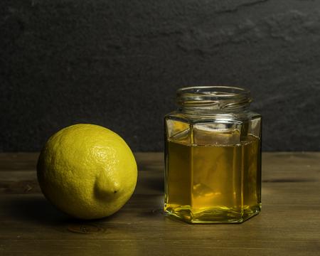 A Jar of Homemade Honey and Lemon cold remedy Stock Photo