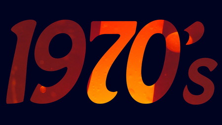 1970s seventies title logo with a blue background and an orange lava lamp filled text