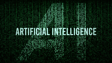 AI Artificial Intelligence computer code title logo with a green color grade