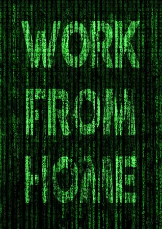 A black and green work from home text graphic illustrating the future of businesses embracing working from a remote location