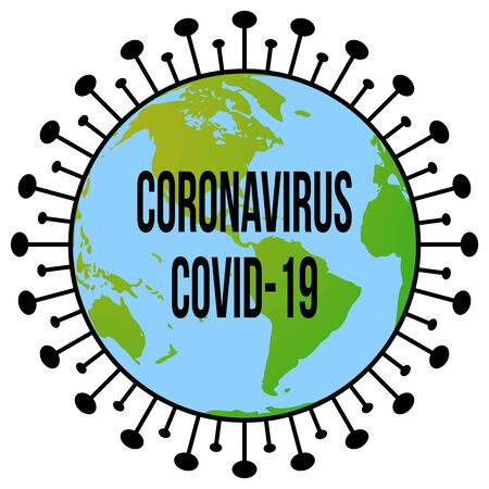 A Coronavirus (CoVid19) disease graphic design with a globe in the center to symbolise the worldwide outbreak of the CoVid-19 pandemic Stock Photo