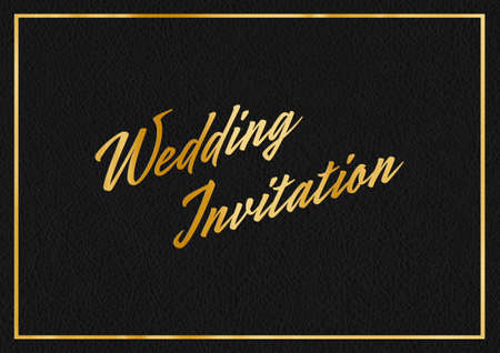 A gold leaf and black leather effect WEDDING INVITATION typographical graphic illustration with black leather background Banque d'images