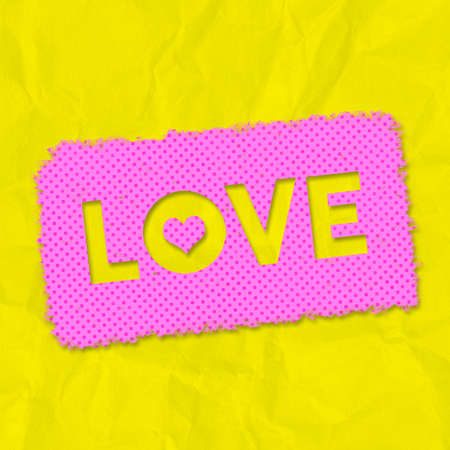 A grunge effect pink and yellow LOVE typographical graphic illustration with creased paper background
